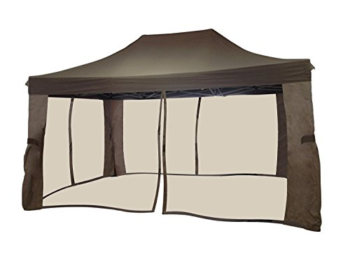 Northlight-10-x-15-Two-Tone-Brown-Pop-Up-Outdoor-Garden-Gazebo-with-Mosquito-Net-Screen-0