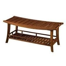Outdoor-Patio-Bench-GardenWoodStorage-Shelf-Natural-0-0