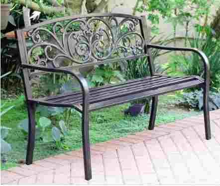 Outdoor-Patio-Bench-Steel-Curved-Back-Black-0