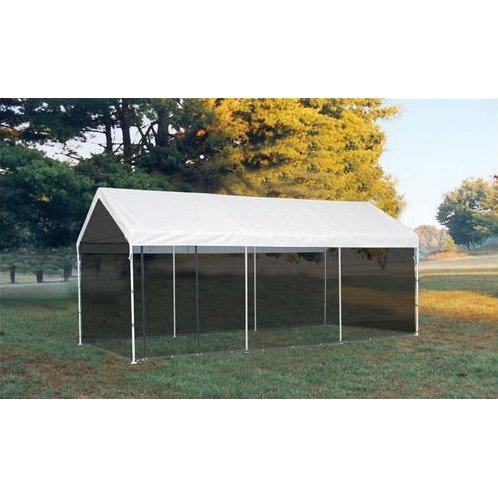Outdoor-Screen-Canopy-Kit-with-Two-Zippered-Doors-Made-of-Fabric-in-White-Finish-10-Ft-W-x-20-Ft-D-0-0