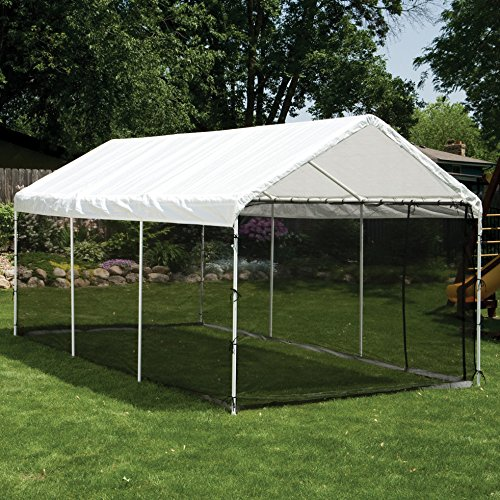 Outdoor-Screen-Canopy-Kit-with-Two-Zippered-Doors-Made-of-Fabric-in-White-Finish-10-Ft-W-x-20-Ft-D-0