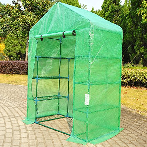 Outsunny-Outdoor-Portable-Walk-in-Greenhouse-Lightweight-Deck-with-Zippered-Door-0-2