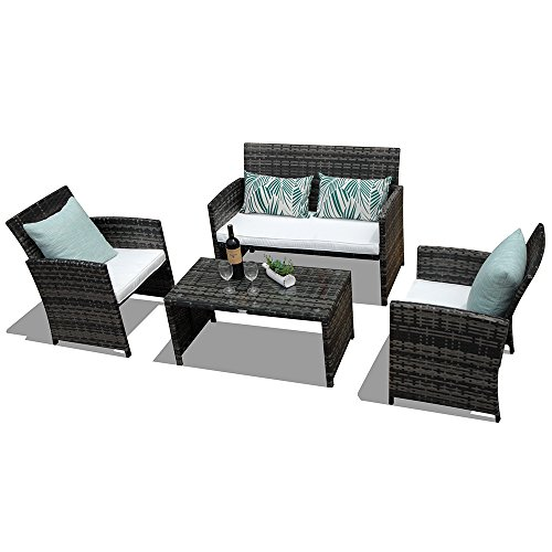 PATIOROMA-4-Piece-Rattan-Sectional-Furniture-Set-with-Cream-White-Seat-Cushions-Outdoor-PE-Wicker-Gray-0-0