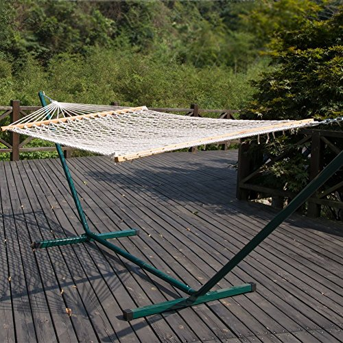 PG-PRIME-GARDEN-12FT-4-Piece-Heritage-Hammock-Essential-Package-Accommodate-1-Person-100-Cotton-Rope-Polyester-Pad-and-Pillow-ComboGreen-Coated-Steel-FrameRust-Resistant-Weight-Limit-275-lb-0-2