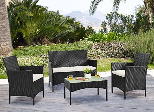 Palm-Springs-Deluxe-4-Piece-Rattan-Sofa-Set-wChairs-Tables-Cushions-Black-0