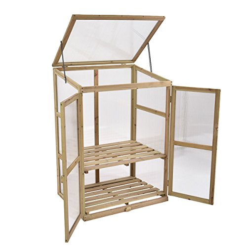 Portable-Double-Locking-Solid-Wooden-Garden-Greenhouse-Plants-Shelves-Protection-w-2-Doors-0