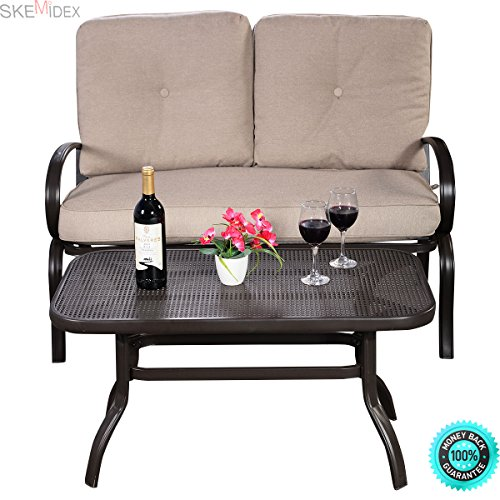 SKEMiDEX-2PC-Patio-LoveSeat-Coffee-Table-Set-Furniture-Bench-With-Cushions-New-This-set-is-perfect-for-watching-the-sunset-with-the-one-you-love-or-for-having-a-nice-lunch-on-a-hot-summers-day-0