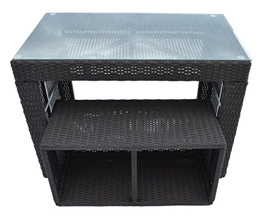 Straight-Bar-Set-Includes-1-Bar-Table-and-1-Stool-Made-of-Durable-Weather-Resistant-Wicker-Rattan-and-Tempered-Glass-Top-in-Dark-Brown-0-0