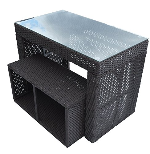 Straight-Bar-Set-Includes-1-Bar-Table-and-1-Stool-Made-of-Durable-Weather-Resistant-Wicker-Rattan-and-Tempered-Glass-Top-in-Dark-Brown-0