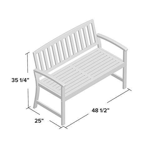 Sturdy-yet-Comfortable-Acacia-Wood-Garden-Bench-Long-Lasting-Solid-Acacia-Wood-Construction-Slatted-Back-and-Square-Arms-Outdoor-Use-Water-and-Weather-Resistant-Charming-White-Finish-0-0