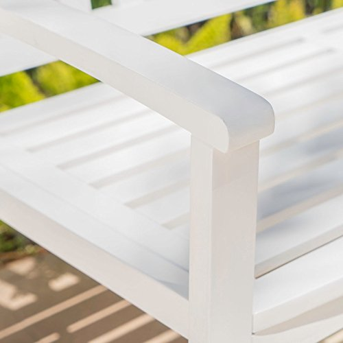 Sturdy-yet-Comfortable-Acacia-Wood-Garden-Bench-Long-Lasting-Solid-Acacia-Wood-Construction-Slatted-Back-and-Square-Arms-Outdoor-Use-Water-and-Weather-Resistant-Charming-White-Finish-0-2