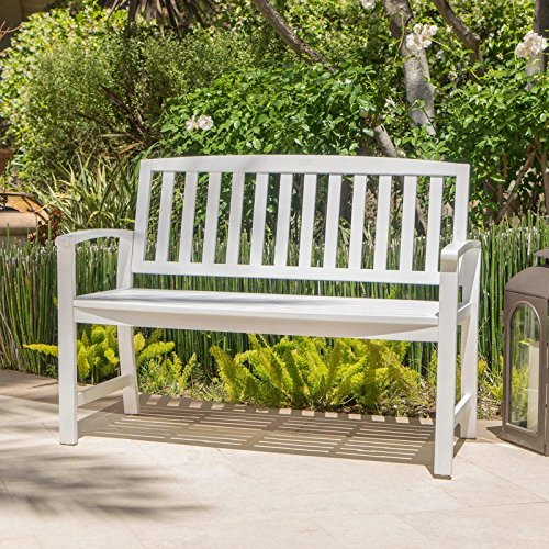 Sturdy-yet-Comfortable-Acacia-Wood-Garden-Bench-Long-Lasting-Solid-Acacia-Wood-Construction-Slatted-Back-and-Square-Arms-Outdoor-Use-Water-and-Weather-Resistant-Charming-White-Finish-0