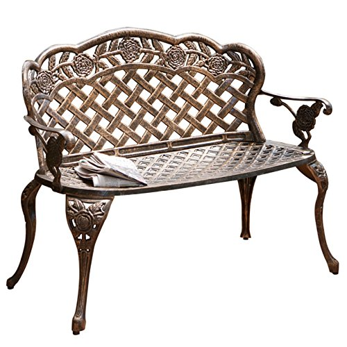 Stylish-Outdoor-Antique-Curved-Patio-Garden-Bench-With-Highly-Durable-Cast-Aluminum-Metal-Construction-All-Weather-And-Rust-Proof-Good-Stability-Attractive-Lattice-Pattern-Antique-Copper-Finish-0
