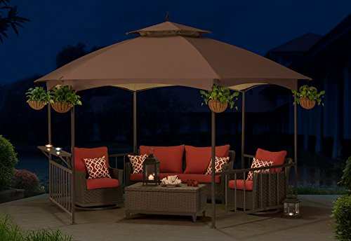 Sunjoy-114X-132-Madison-Pavilion-Hex-Shape-Soft-Top-Gazebo-with-Serving-Shelf-0-0
