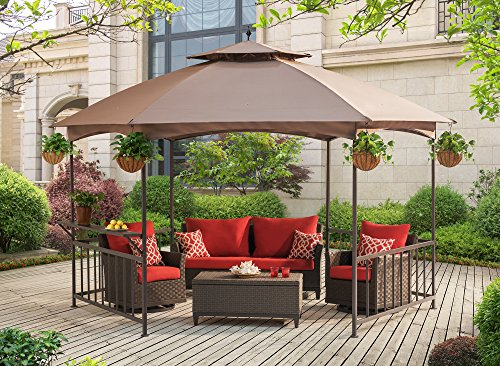 Sunjoy-114X-132-Madison-Pavilion-Hex-Shape-Soft-Top-Gazebo-with-Serving-Shelf-0