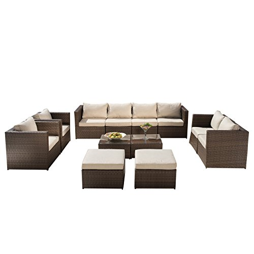 Supernova-Outdoor-Furniture-12-Pieces-Garden-Patio-Sofa-Set-Wicker-Rattan-Sectional-Sofa-No-Assembly-Required-Aluminum-Frame-Brown-0