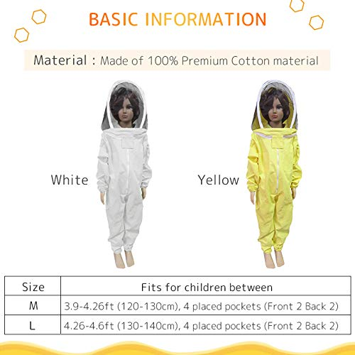 TINTON-LIFE-Kids-Beekeeping-Suits-Full-Body-Ventilated-100-Cotton-Children-Bee-Suits-with-Self-Supporting-Fencing-Veil-Protective-Gear-for-Beekeeper-0-0