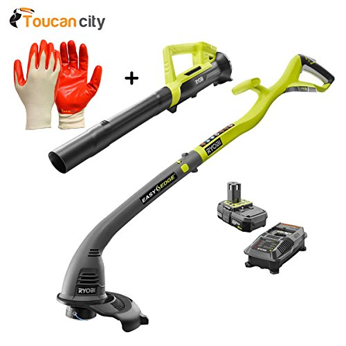 Toucan-City-Ryobi-ONE-18-Volt-Lithium-Ion-String-TrimmerEdger-and-Blower-Combo-Kit-20-Ah-Battery-and-Charger-Included-P2036-and-Nitrile-Dip-Gloves5-Pack-0