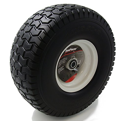 TruePower-15X650-6-PU-Flat-Free-Tire-on-Wheel-3-Centered-Hub-Both-58-34-Bearings-and-Spacers-0