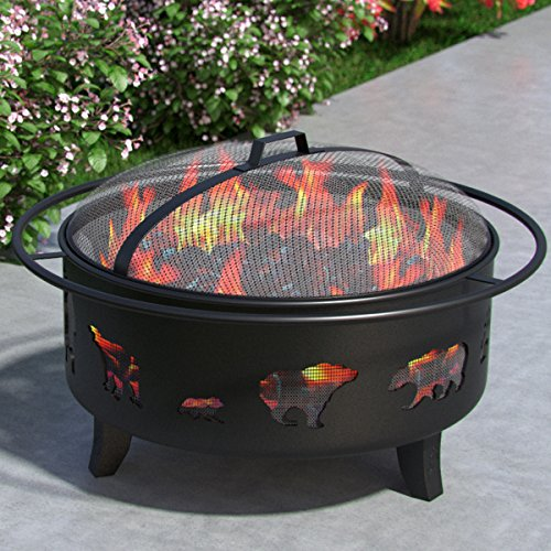 Wild-Bear-35-Portable-Outdoor-Fireplace-Fire-Pit-Ring-For-Backyard-Patio-Fire-RV-Patio-Heater-Stove-Camping-Bonfire-Picnic-Firebowl-No-Propane-Includes-Safety-Mesh-Cover-Poker-Stick-0