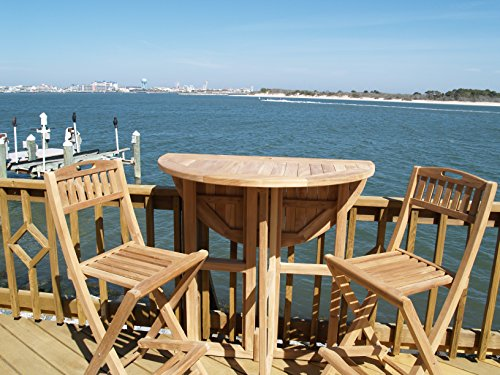Windsors-3pc-Premium-Grade-A-Indonesian-Plantation-Teak-Bar-Set-39-Round70lbs-Folding-Dropleaf-Bar-Table-and-2-Folding-Bar-Chairs-Worlds-Best-Outdoor-Furniture-0-0