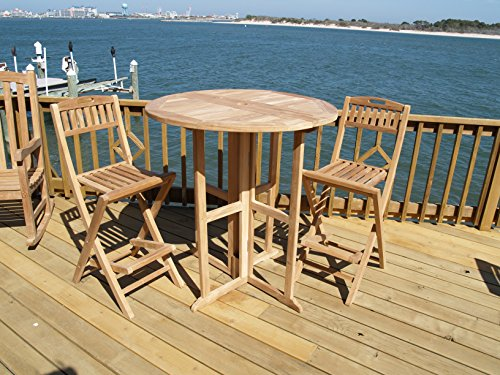 Windsors-3pc-Premium-Grade-A-Indonesian-Plantation-Teak-Bar-Set-39-Round70lbs-Folding-Dropleaf-Bar-Table-and-2-Folding-Bar-Chairs-Worlds-Best-Outdoor-Furniture-0