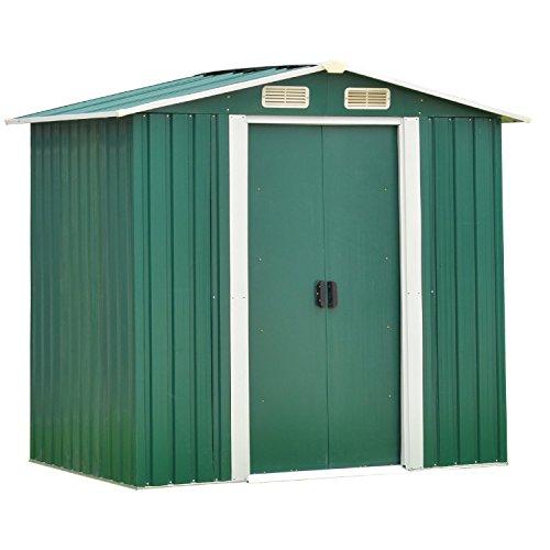 Wonlink-Heavy-Duty-Outdoor-Steel-Garden-Storage-Utility-Shed-Backyard-Lawn-Building-Garage-Green6-by-4-Feet-0