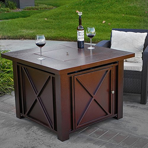 XtremepowerUS-Out-Door-Patio-Heaters-LPG-Propane-Fire-Pit-Table-Hammered-Bronze-Steel-Finish-Deluxe-0-2