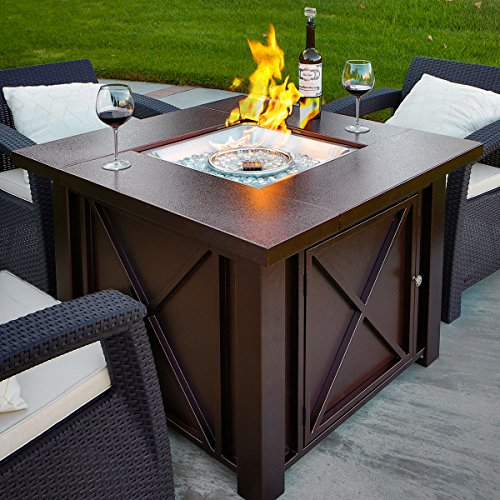 XtremepowerUS-Out-Door-Patio-Heaters-LPG-Propane-Fire-Pit-Table-Hammered-Bronze-Steel-Finish-Deluxe-0