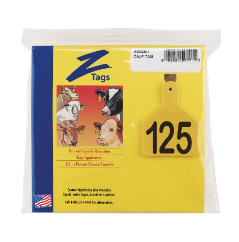 Z-Tags-1-Piece-Pre-Numbered-Laser-Print-Tags-for-Calves-Numbers-from-101-to-125-Yellow-0