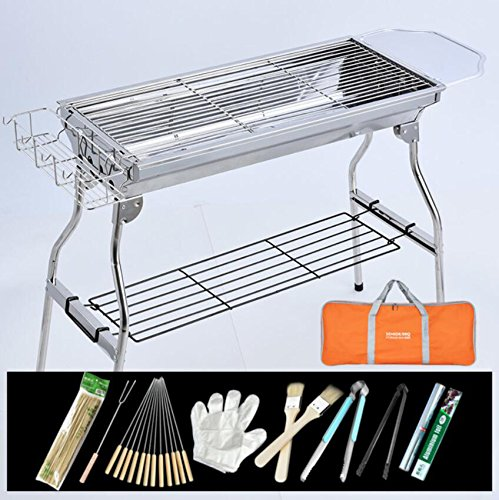 ZZ-aini-Portable-Charcoal-Grills-Stainless-Steel-BBQ-Outdoor-Barbecue-Smokers-Picnicking-Camping-0-2