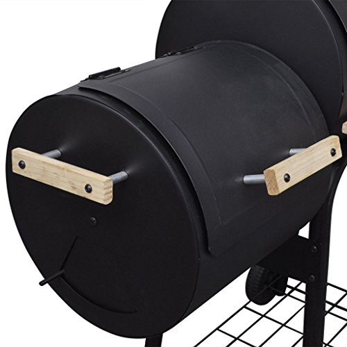 vidaXL-BBQ-Offset-Smoker-Barbecue-Charcoal-Grill-Small-Steel-Barrel-Outdoor-Cooking-0-1