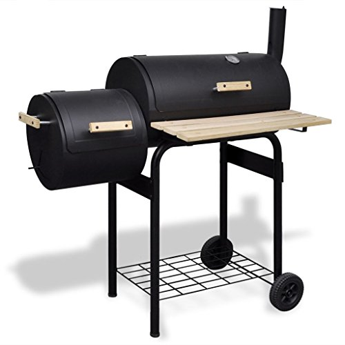 vidaXL-BBQ-Offset-Smoker-Barbecue-Charcoal-Grill-Small-Steel-Barrel-Outdoor-Cooking-0