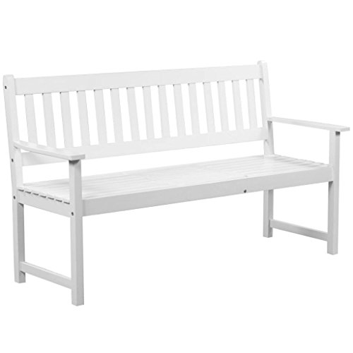 vidaXL-Solid-Acacia-Wood-Patio-Garden-Bench-Integrated-Table-Outdoor-White-0-0