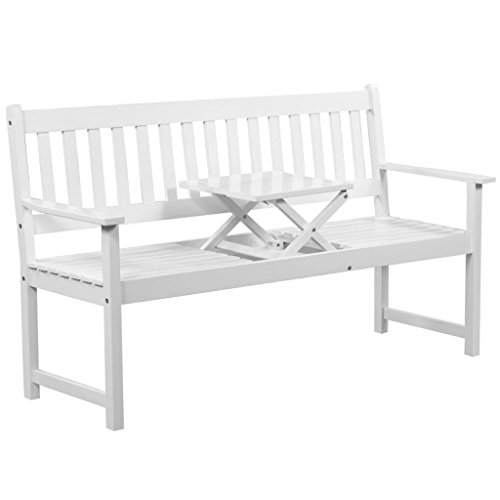 vidaXL-Solid-Acacia-Wood-Patio-Garden-Bench-Integrated-Table-Outdoor-White-0