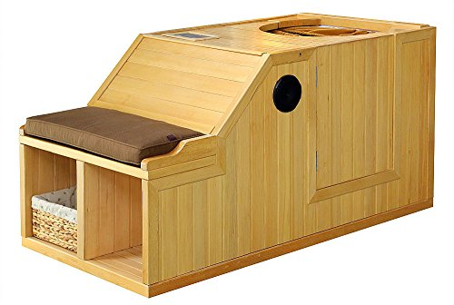 1-Person-Half-Sauna-FIR-FAR-Infrared-Heat-7-Carbon-Heaters-141-Degrees-120V-Hemlock-Wood-Portable-0