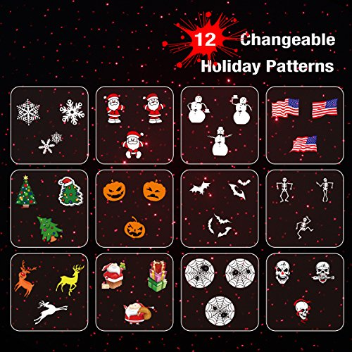 1byone-Holiday-Projector-Light-with-12-Changeable-Patterns-for-Christmas-Halloween-and-Independence-Day-FDA-Certified-Class-IIIA-20mW-Star-Laser-Show-for-Holidays-Parties-or-Garden-Decoration-0-2
