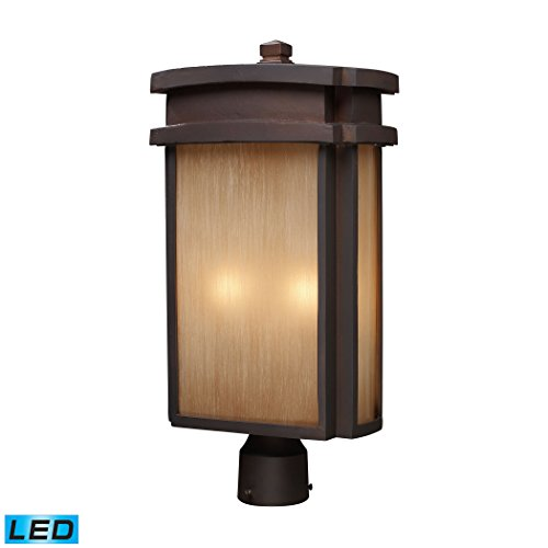 2-Light-Outdoor-Post-Light-In-Clay-Bronze-LED-800-Lumens-1600-Lumens-Total-With-Full-Scale-Dimming-Range-60-Watt-120-Watt-TotalEquivalent-120V-Replaceable-LED-Bulb-Included-0