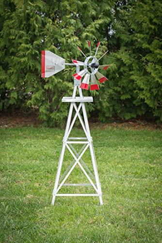 4-Ft-Premium-Aluminum-Decorative-Garden-Windmill-Red-Trim-0