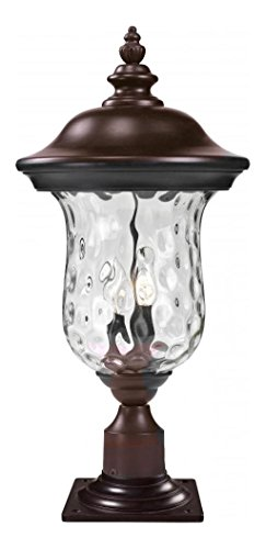 533PHM-533PM-RBRZ-Bronze-Armstrong-2-Light-Outdoor-Pier-Mount-Light-with-Clear-Water-Glass-Shade-0
