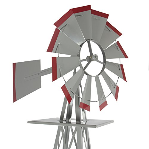 8-Windmill-Ornamental-Garden-Weather-Vane-Weather-Resistant-Silver-and-Red-0-1