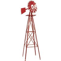 8ft-Ornamental-Garden-Windmill-Red-and-White-0-0