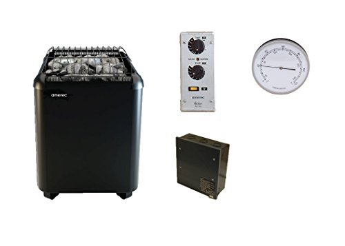 Amerec-12-KW-Laava-Floor-Standing-Sauna-Heater-with-Rocks-and-SC-60-Time-and-Temperature-Control-Required-Contactor-Box-Soft-Steam-Generating-tank-and-Free-Room-Thermometer-0
