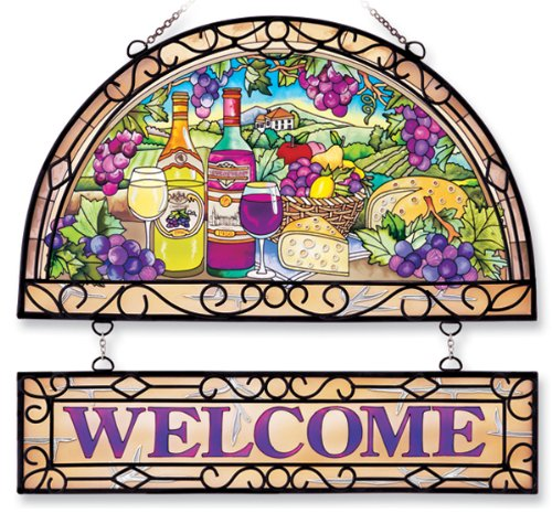 Amia-11-Inch-Welcome-Panel-with-Wine-Country-Design-Includes-Handcrafted-Wrought-Iron-Frame-0