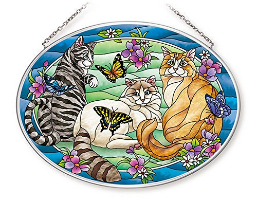 Amia-42628-Tiffany-Garden-Cat-Large-Glass-Suncatcher-9-Long-Multicolored-0