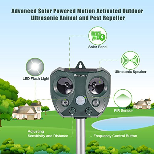 Beatunes-2018-New-Solar-Powered-Ultrasonic-Animal-and-Pest-Repeller-Motion-Activated-Outdoor-Waterproof-Repellent-for-Dog-Cat-Bird-Squirrel-Rat-Vole-Raccoon-Fox-Rodent-etc-0-1