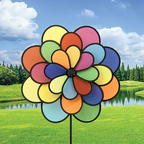 Bits-and-Pieces-20-Nylon-Triple-Flower-Wind-Spinner-Three-Tiered-Rainbow-Petal-Wind-Spinner-for-Your-Yard-or-Garden-0-0