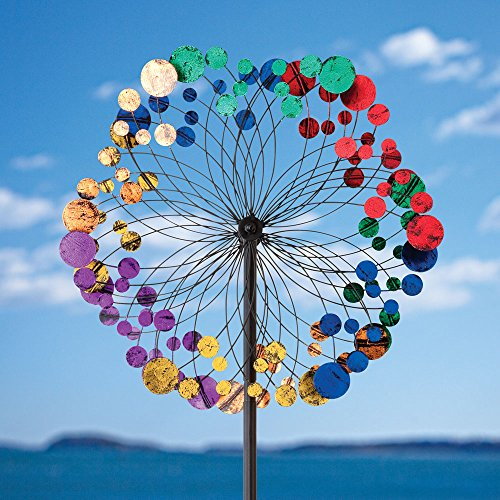 Bits-and-Pieces-Metallic-Kaleidoscope-Wind-Spinner-Garden-Dcor-Weather-Safe-Finish-Makes-for-Great-Addition-to-Your-Garden-Lawn-or-Patio-0-0