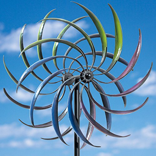 Bits-and-Pieces-The-Original-Rainbow-Wind-Spinner-Decorative-Lawn-Ornament-Wind-Mill-Tri-Colored-Kinetic-Garden-Spinner-0-0