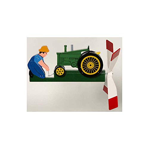 CHSGJY-Handcrafted-Antique-Green-Tractor-Whirligig-Hand-Wind-Spinner-Home-Yard-Garden-Living-Decor-0